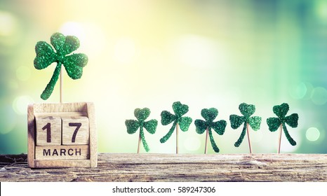 Saint Patrick Day - Calendar With Green Clovers