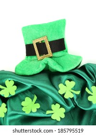 Saint Patrick day hat with clover leaves, isolated on white