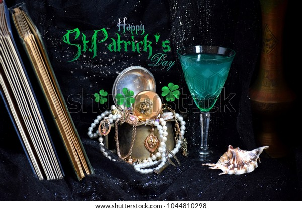 Saint Patrick's day background with gold pot and green clover on a dark shining background.