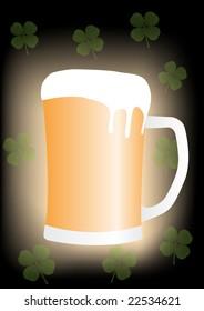 Saint Patricks Day Beer mug with four leaf clovers - Raster Illustration