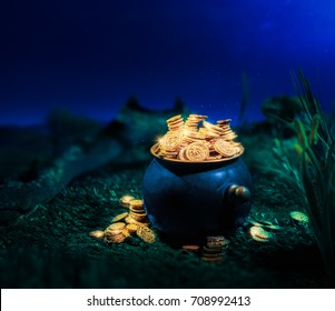 Saint Patrick's Day concept with pot full of gold coins in a forest at night / High contrast image