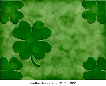 Saint Patrick's day,green  background with  clovers