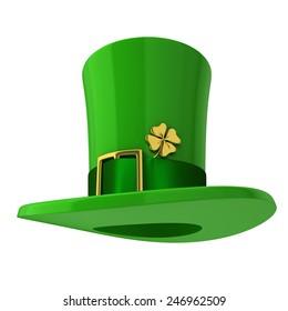 Saint Patrick's hat. 3d illustration isolated on white background