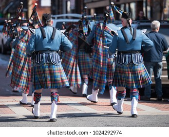 Saint Patrick's Holiday Parade. Men in traditional Irish kilt. Awesome Bagpipe Players.