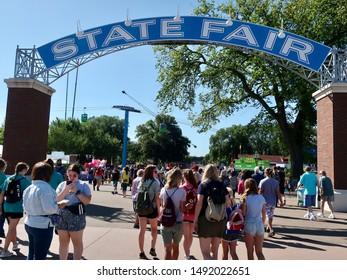 SAINT PAUL - AUGUST 28:  The entrance of the Minnesota State Fair on August 28, 2019, in St. Paul, Minnesota.