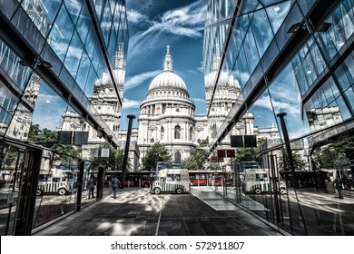 Saint Paul Cathedral glass reflections in London.