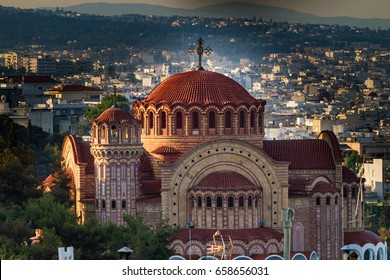 Saint Paul Church, Agios Pavlos, aerial view, Thessaloniki, Greece
