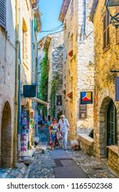 SAINT PAUL DE VENCE, FRANCE, JUNE 13, 2017: A narrow street in the old town of Saint Paul de Vence, France