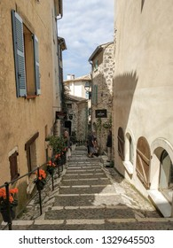 Saint Paul de Vence, France - July 9, 2018: St Paul De Vence is a beautiful medieval fortified village perched on a narrow spur between two deep valleys.