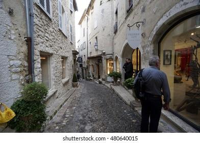 Saint Paul De Vence, France, September 15, 2013. View to the street of the medieval town of St. Paul De Vence, France.