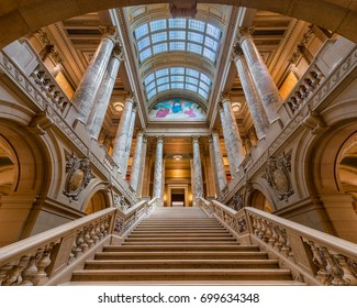 SAINT PAUL, MINNESOTA - JULY 16: Staircase and pillars inside the Minnesota State Capitol on Rev Dr Martin Luther King Jr Boulevard on July 16, 2017 in St. Paul, Minnesota
