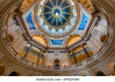 SAINT PAUL, MINNESOTA - JULY 16: Inner dome from the rotunda floor of the Minnesota State Capitol on Rev Dr Martin Luther King Jr Boulevard on July 16, 2017 in St. Paul, Minnesota