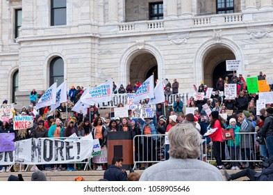 SAINT PAUL, MN/USA – MARCH 24, 2018: Students from West Metro Walkout activist group take to the podium at State Capitol on behalf of their peers as part of a national protest against gun violence.