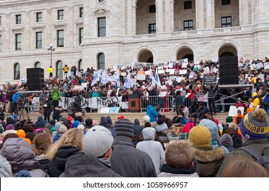 SAINT PAUL, MN/USA – MARCH 24, 2018: Student addresses crowd from podium at State Capitol during March for Our Lives rally organized as part of a national protest against gun violence.
