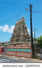 Saint Paul, Reunion Island, France - December 07, 2010: Hindu temple with traditional decoration in Saint Paul, Reunion.