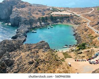 Saint Paul's Bay (Agios Pavlos Beach) in the town of Lindos, Rhodes, Greece