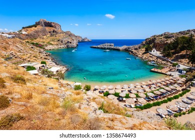 Saint Paul's Beach and Lindos Acropolis aerial panoramic view in Rhodes island in Greece