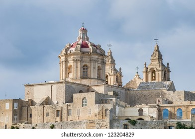 Saint Paul's Cathedral designed by the architect Lorenzo Gafa in Mdina, Malta