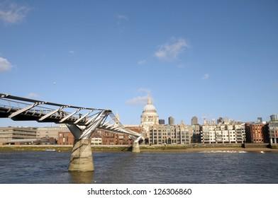 Saint Pauls Cathedral and Millennium Bridge over River Thames, London