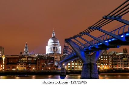 Saint Paul's Cathedral at night, London, UK