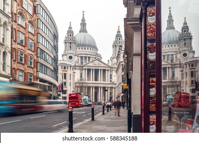 Saint Pauls cathedral in winter day, London