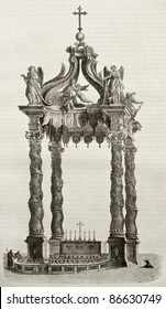 Saint Peter basilica baldacchino and main altar, old illustration. By unidentified author, published on Magasin Pittoresque, Paris, 1843