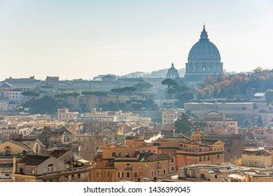 Saint Peter Basilica building panorama view in Vatican Rome