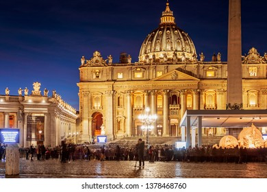 Saint Peter Basilica building in Vatican Rome by night