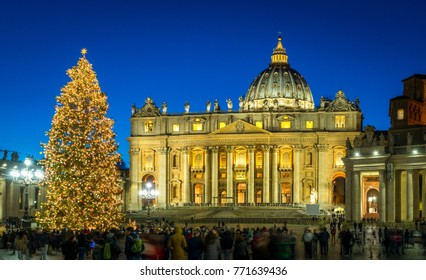 Saint Peter Basilica in Rome at Christmas. Italy.
