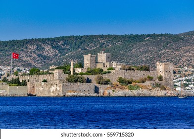Saint Peter Castle (Bodrum Kalesi) in Bodrum, view from the sea, Turkey