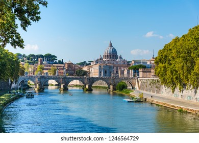 Saint Peter dome seen from Tiber river in Rome, Italy