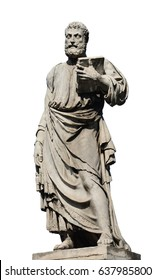 Saint Peter holding the key of heaven statue on Holy Angel Bridge in Rome, made in the 17th century by sculptor Lorenzetto (isolated on white background)