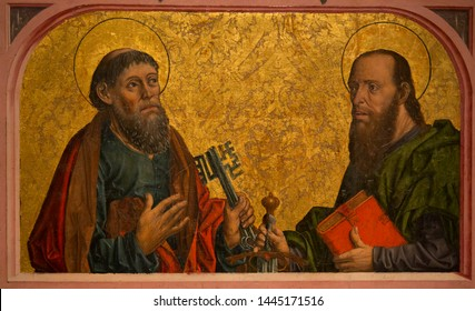 Saint Peter and Saint Paul in a Francisco Gallego painting at cathedral of Samalamanca in gothic style from first part of 1400. Spain