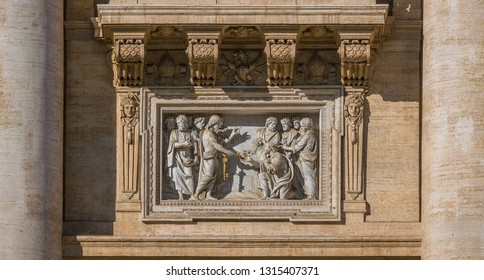 """Saint Peter receiving the Keys"" by Ambrogio Buonvicino over the main entrance to Saint Peter Basilica in Rome, Italy."