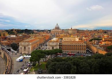 Saint Peter's Basilica, panoramic view, Rome, Italy