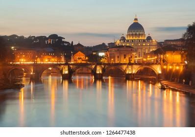 Saint Peters basilica at sunset. Rome