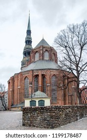 Saint Peters church in Riga, the capital of Latvia at winter time