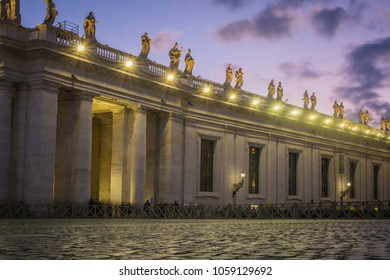 Saint Peter's Square in the evening in the Vatican, Italy