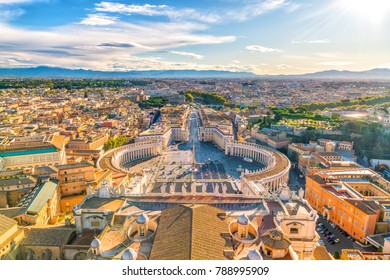 Saint Peter's Square in Vatican , Rome from top view
