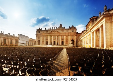 Saint Peter's Square in Vatican and seats