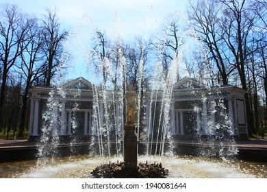 Saint Petersburg, 05 05 2019: Fountain Adam in Peterhof