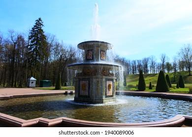 Saint Petersburg, 05 05 2019: Roman Fountain in Peterhof