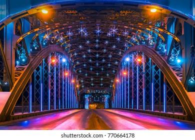 Saint Petersburg. Bridges of Petersburg. Bridges and canals in St. Petersburg. Night Petersburg.