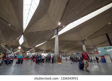 SAINT PETERSBURG - CIRCA MAY, 2018: Pulkovo International Airport interior view.