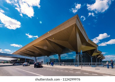 SAINT PETERSBURG - CIRCA MAY, 2018: Pulkovo International Airport futuristic building against blue sky.