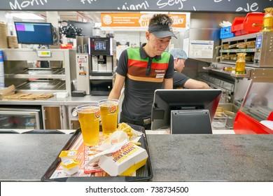 SAINT PETERSBURG - CIRCA OCTOBER, 2017: staff at Burger King restaurant. Burger King is an American global chain of hamburger fast food restaurants.