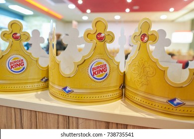SAINT PETERSBURG - CIRCA OCTOBER, 2017: paper crowns at Burger King restaurant. Burger King is an American global chain of hamburger fast food restaurants.