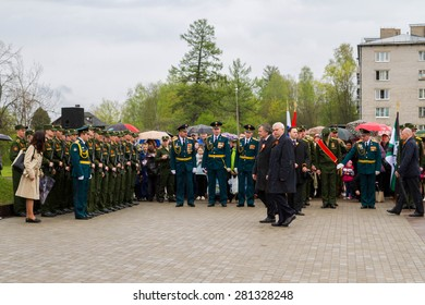 Saint Petersburg city, Lomonosov, Russia, May 8, 2015. The opening of the Stella and the laying of wreaths at the memorial day on may 9.