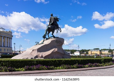 Saint Petersburg. Equestrian statue of Peter the Great in the Senate Square, called the Bronze Horseman. On the monument is a historical inscription to Peter the first from Catherine II of 1782