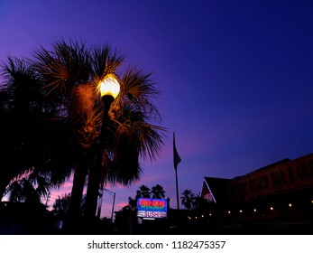 Saint Petersburg, FLA - September 16 2018 - A sushi restaurant at dusk in John's Pass, a popular touristic area.